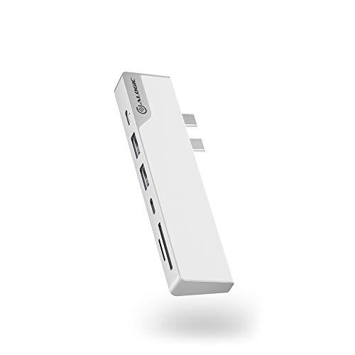 ALOGIC USB-C MacBook Dock Nano Gen 2 - Silber; 1 x HDMI 4K bei 30 Hz, 2 x USB-A, 1 x USB-C (100 W PD), 1 x USB-C (Daten), Mikro- und SD-Kartenleser
