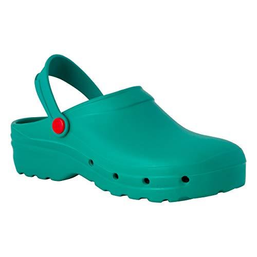 REPOSA Light Shock Zuecos Sanitarios, Zapatos de enfermería, Material eva Zapatos Sanitarios cómodos con capellada Superior Cerrada, Agujeros Laterales, Plantilla anatómica (Verde, Numeric_38)