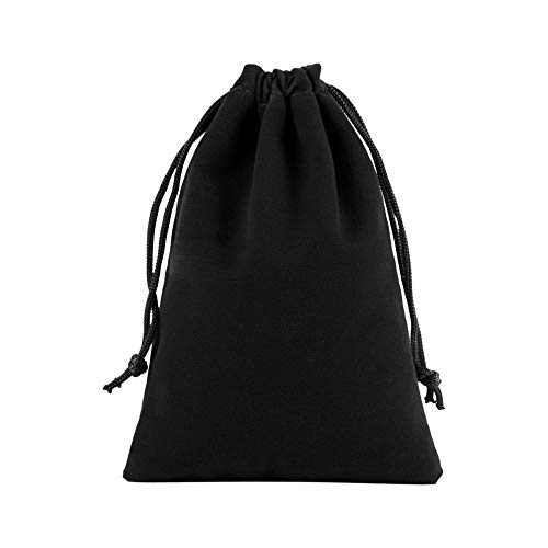 Hihamer 2PC Black Velvet Drawstring Bags, Velvet Pouches for Jewelry Gift Packaging Drawstring Bags Jewelry Pouches Multifunction Protection Cover (9 * 12CM)