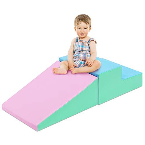 COSTWAY 2TLG. Softbausteine, Riesenbausteine zum Toben und Klettern, Großbausteine, Bauklötze für Kinder im Vorschulalter, Babys und Schulkinder (Rosa+blau)