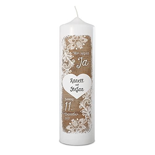 Hochzeitskerze personalisiert mit Namen und Datum Kerze zur Hochzeit selbst gestalten individueller UV-Druck 70x250mm - Rustikal