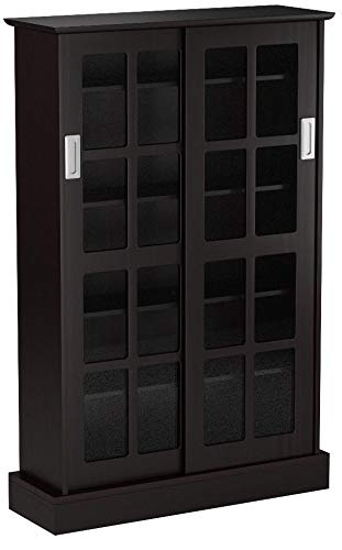 Atlantic Windowpane Adjustable Media Cabinet - Tempered Glass Pane Styled Sliding Doors, Store 216 Blu-Rays,192 DVDs or 576, Adjustable Shelves, 49 X 32 X 9.5 inches PN94835721 in Espresso