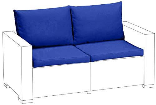 Gardenista Bleu de remplacement de 4 pièces Ensemble de coussins d'assise pour Keter Allibert California extérieur en rotin Canapé 2 places