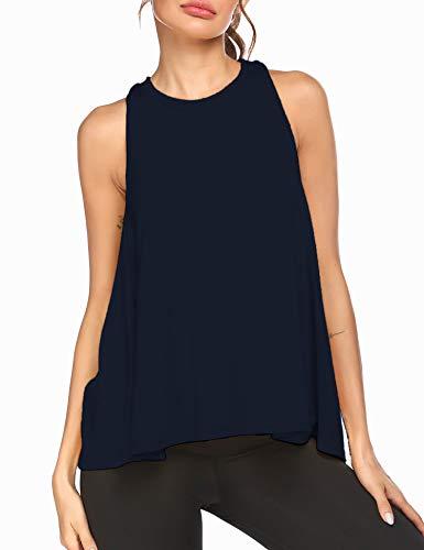 Loose Fit Racerback Swing Tank Women Sleeveless Running Exercise Shirt Short Workout Tops Navy Blue XX-Large