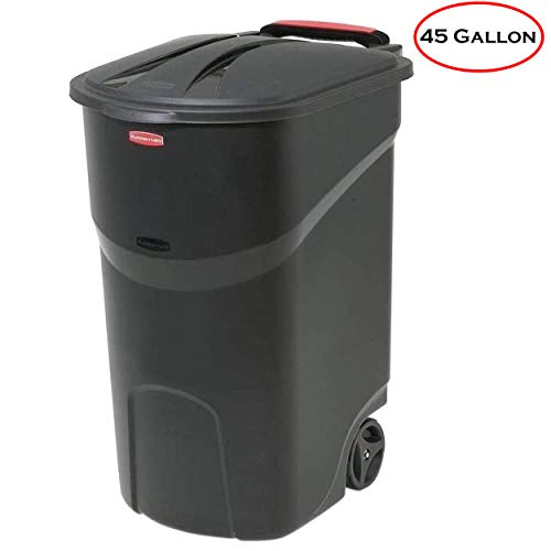 Mount Blaze Wheeled Trash Garbage Container 45 Gallon Black Trash Can with Lid Outdoor Plastic Waste Bin Basket Wheels Steady and Upright for Outdoor
