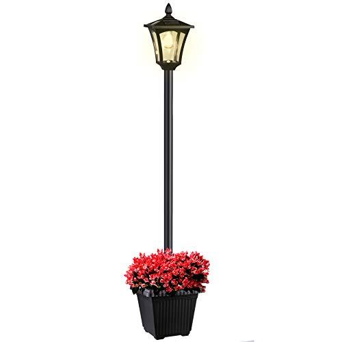 Solar Lamp Post Light Outdoor, 65 Inch Vintage Street Light Waterproof Decorative Solar Garden Light with Planter for Lawn, Pathway, Driveway, 50 Lumens, 3200K
