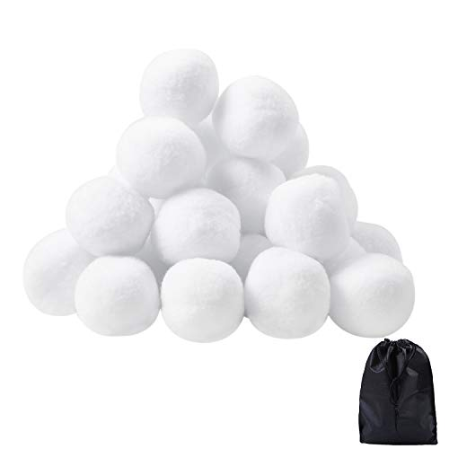URATOT 30 Pack Indoor Snowball Fight Fake Snowball Soft and Realistic with Bags for Kids Adults Winter Games(30, 7.5cm)