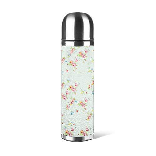 Botella de agua de acero inoxidable con diseño de abanico artístico, diseño floral, color rosa, estilo desgastado, con aislamiento al vacío, de piel a prueba de fugas, doble pared, contenedor de viaje, termo de 500 ml