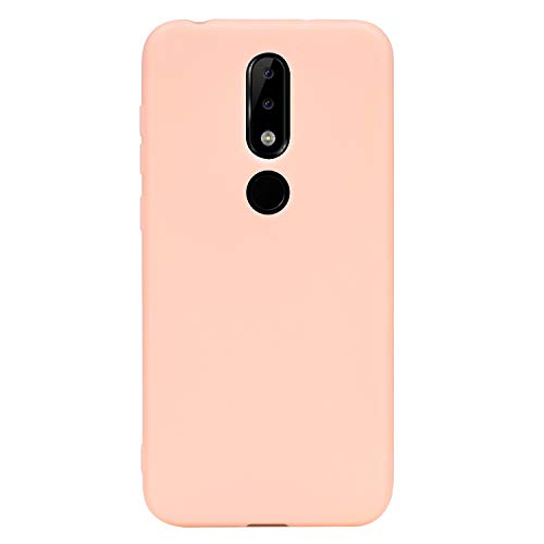 "BINGRAN Nokia 5.1 Plus Custodia, Finitura Opaca Matte Candy Color TPU Silicio Gomma Gel Antiurto Cover Custodia per Nokia 5.1 Plus (Nokia X5) 5.86"" Rosa"