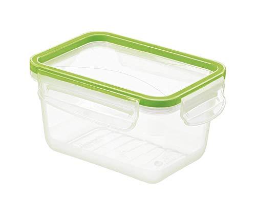 Rotho Clic & Lock Frischhaltedose 0,75l mit Deckel und Dichtung, Kunststoff (PP) BPA-frei, transparent/grün, 0,75l (16,1 x 12,0 x 8,5 cm)