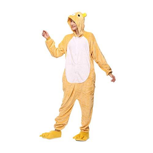 Tier Pyjama Onesies Cosplay Fasching Schlafanzug mit Kapuze Cartoon Outfit Winter Jumpsuit Flanell Niedliche Sleepsuit Warm Animal Tierpyjamas für Erwachsene Damen Herren Rilakkuma M