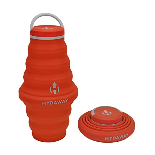 HYDAWAY Collapsible Water Bottle, 25oz Cap Lid | Ultra-Packable, Travel-Friendly, Food-Grade Silicone (Sunset)