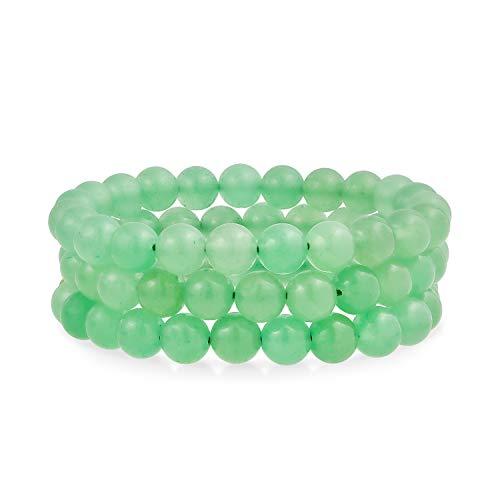 Bling Jewelry Conjunto de 3 Semi Preciosa Piedra Preciosa Verde aventurina Redondo Bola de Cuentas 8MM apilamiento Strand Pulsera de Estiramiento para Mujeres Hombres Adolescente