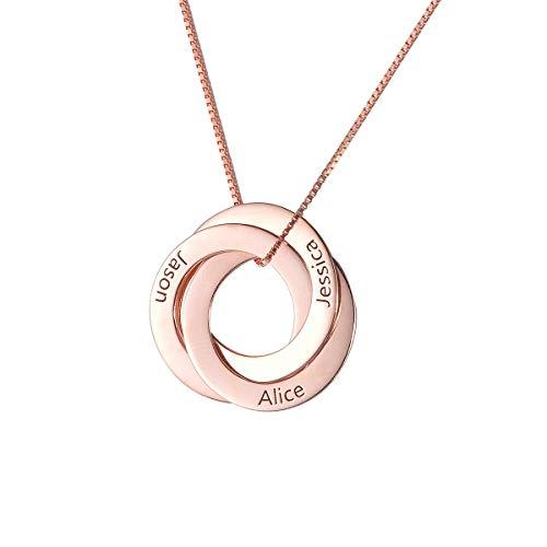 SG Personalisierte Namenskette S925 Silber Russische Ring Halskette Mit 3 Namen Familienmitglieder Halskette Mit Gravur
