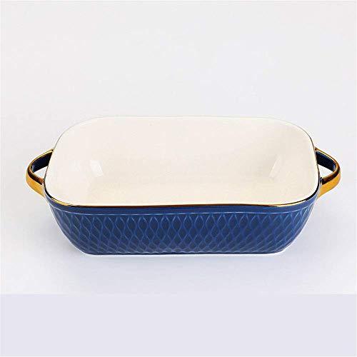 WQF Plateau de Cuisson en céramique 2 pièces Plat de Cuisson rectangulaire en céramique créative Vaisselle de Cuisson Plat de Four Moules à gâteau Micro-Ondes (Couleur: C, Taille: 23.5