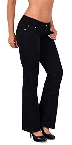 ESRA Damen Jeans Bootcut Jeanshose Damen Schlaghose bis Übergröße CC, Typ-j06, 42