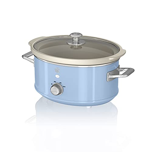 Swan Retro Blue 3.5 Litre Slow Cooker, 3 Temperature Settings, Keep Warm Function, Removable Ceramic Inner Pot, 32 Page Recipe Book, 200W, SF17021BLN