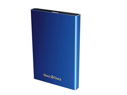 ManxData - Hard disk esterno portatile USB 3.0, 320 GB, per PC, Mac, Smart TV, Xbox One e PS4, colore: Blu