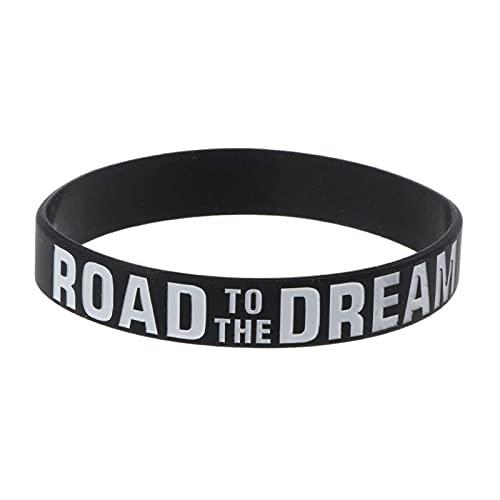 Mengmengda Pulsera de goma de silicona con diseño de Road to the Dream Never Give Up