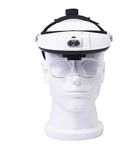 Lupa para la cabeza con 2 luces LED, lupa de lectura manos libres montada en la cabeza, joyero, lupa de reloj 5 lentes reemplazables A/A