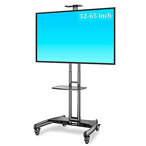 Portable TV Cart Height Adjustable 32 To 65 Inch Mobile TV Stand with Webcam Shelf/Wheels Floor Trolley for School/Office Beautiful Home