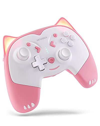 KINVOCA Wireless Controller for Nintendo Switch/Switch Lite, Cute Pro Controller with Turbo, Motion, Vibration, Wake-Up, Headphone Jack and Breathing Light - Pink