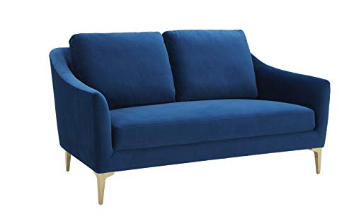 Amazon Brand – Rivet Alonzo Contemporary Velvet Loveseat Sofa, 64'W, Blue