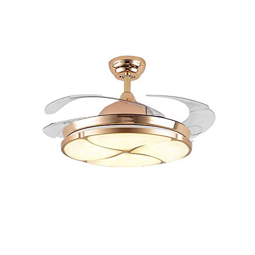 Kibath Lámpara Colgante Candelabro 106.7cm Luz de Techo LED Zhongshan Ventilador de Techo Invisible Ventilador de luz Luces Restaurante Minimalista Luz de Ventilador de Techo de Cristal