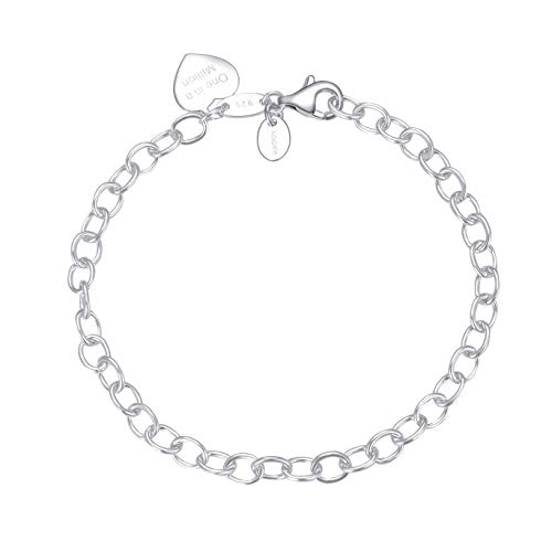Sterling Silver Heart Pendant Bracelet 7.5 inch'One in a Million' 5.5mm Chain for Women Girls Birthday Mother's Gifts SB7-B