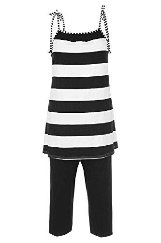Nanso Pyjama Schlafanzug Gr. XS S M Spagetti-Träger 1/2 Hose Shorty (38-40 / M, Schwarz-Weiss)