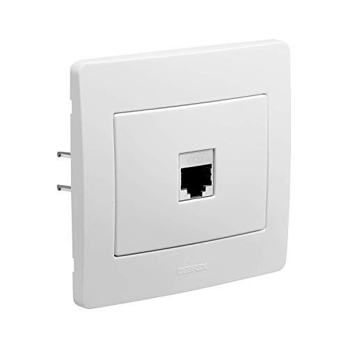 DEBFLEX 3142187393708 739370 Rj45- Enchufe de pared para dispositivos Ethernet y dispositivos de conexión a la gama Diam2, conector Rj45, Cat 6, FTP blanco