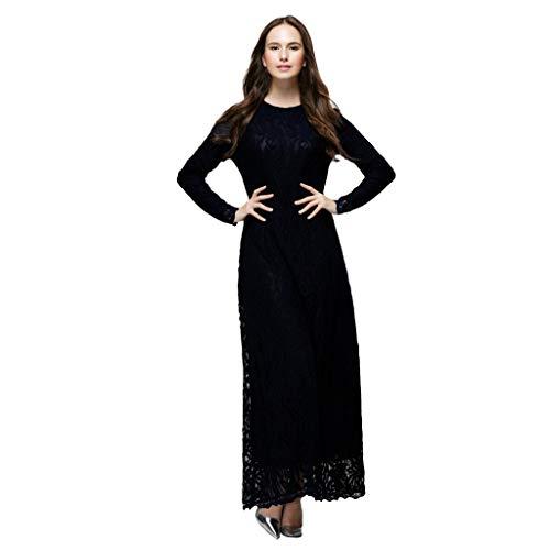 WUDUBE Mode Frauen Muslimische Robe, Frauen Muslim Lose Elegantes Kleid Einfarbig Robe Kostüm Islamischen Arabischen Kaftan