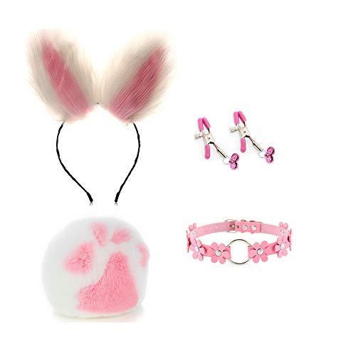 Bunny Tail B-ütt Ānāl-Plúg Orejas artificiales Diadema Conjunto de lencería Festival de Halloween Disfraz Rave color 4