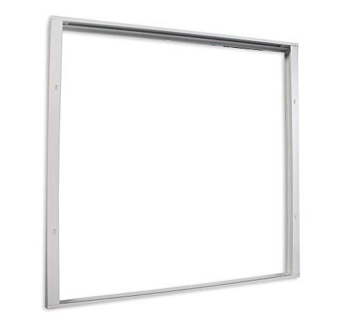 Vetrineinrete® Cornice per pannello led quadrata 60x60 cm montaggio esterno a parete o soffitto supporto per plafoniera led in alluminio bianco P38