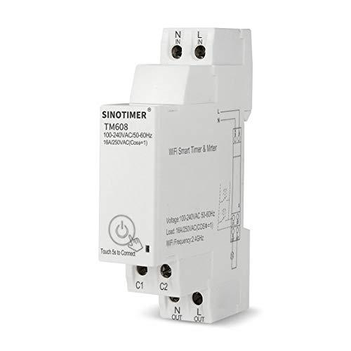 Interruptor de temporizador digital monofásico de 18 mm, programador de interruptor de Control de luz inteligente WiFi remoto con monitoreo de energía 100-240V 16A