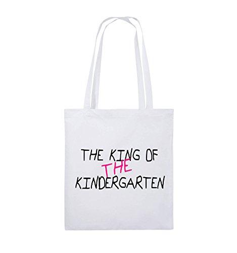Comedy Bags - The King of The Kindergarten - Jutebeutel - Lange Henkel - 38x42cm - Farbe: Weiss/Schwarz-Pink