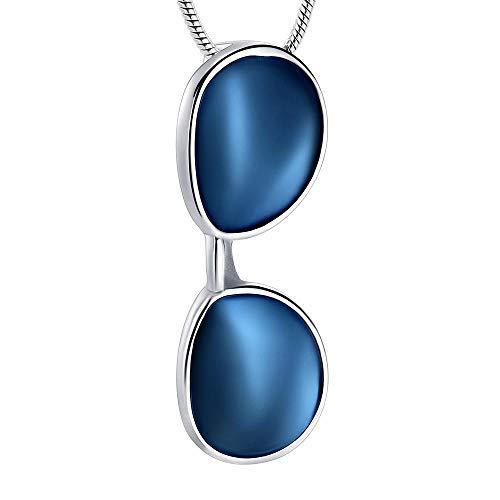QJZM Urnen-Halskette, Edelstahl, Sonnenbrille, Urnen-Anhänger, Halskette, Schmuck, Geschenk, Blau, 20 Stück