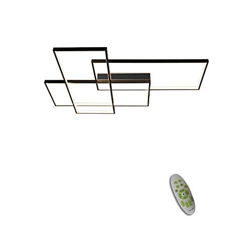 Deckenleuchte Led Wohnzimmer Esszimmer Lampen Dimmbar mit Fernbedienung, Modern Eckig Design Innen Deckenlampe Metall Acryl-schirm Kronleuchter für Küche Schlafzimmer Bad Decke Leuchten L67*W47cm