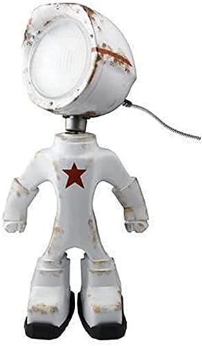QINGPINGGUO Industrial Robot Lamp Steampunk Table Lamp,Suitable For Parties and Events, Creating A Dynamic Atmosphere, Creative Iron Robot Vintage Style Desk Lamp (White)