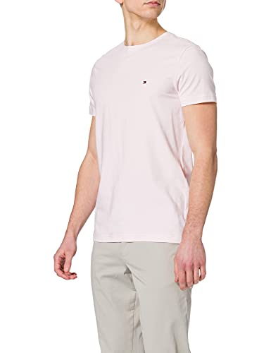 Tommy Hilfiger TH Stretch Slim Fit tee Camiseta, Rosa (Light Pink), S para Hombre