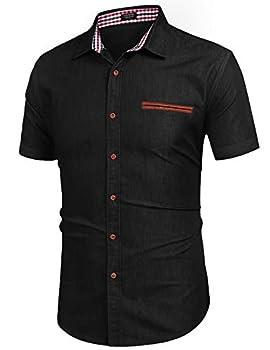 COOFANDY Mens Big & Tall Short-Sleeve Work Button Down Dress Shirt