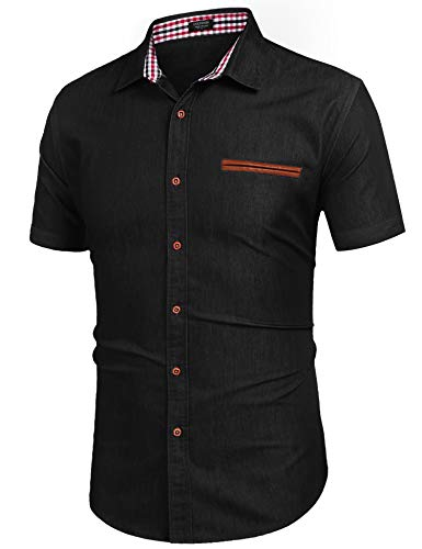 COOFANDY Kurzarmhemd Sommerjacke Herren Top Shirt Baumwollmischung Blau Herrenhemd Regular Fit(Schwarz,L)