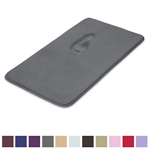 MAYSHINE Memory Foam Bathroom Rugs Non-Slip Water Absorbent Fast Dry Luxury Soft Bath mat (17x24 Inches, Charcoal Gray)