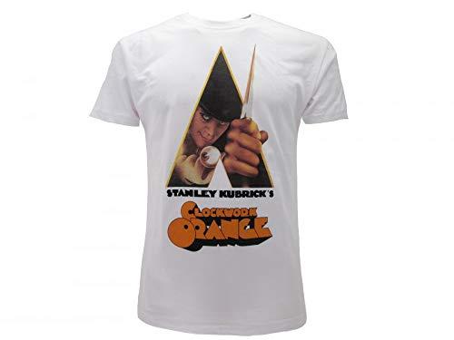 T-Shirt Original Orange Mechanik Locandina Stanley Kubrick Clockwork Orange Trikot mit Etikett und Originaletikett Weiß Bianco XL