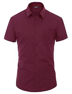 PAUL JONES Men's Solid Short Sleeves Dress Shirts Casual Button Down Shirt