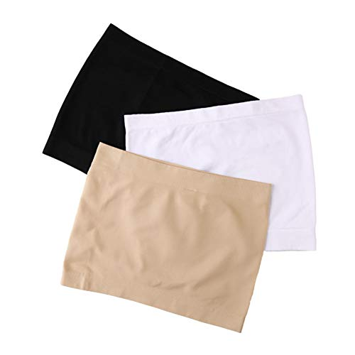 DABER VICH - Camiseta de tubo largo sin tirantes para mujer, sin costuras, 3 unidades, capa base activa