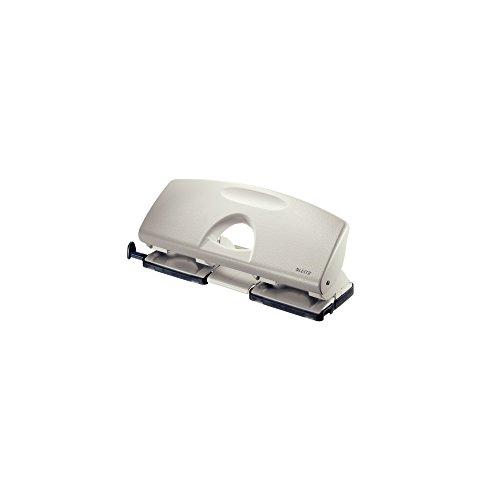 Leitz Perforatrice 4 Trous, Capacité 25 Feuilles, Gris clair, Métal, Réglette de Guidage avec Repères, 50120085