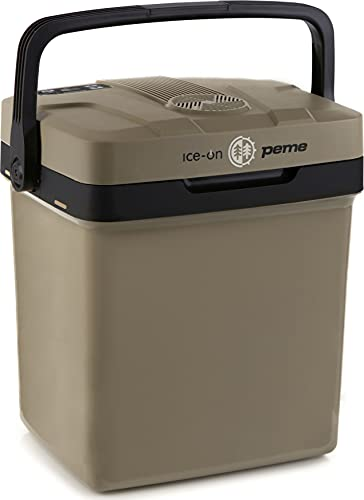 peme, 32 Liter Kühlbox, Kühlt und Wärmt, Thermo-Elektrische Kühlbox, 12 Volt und 230 Volt Mini-Kühlschrank, Auto und Camping, Erdfarbe