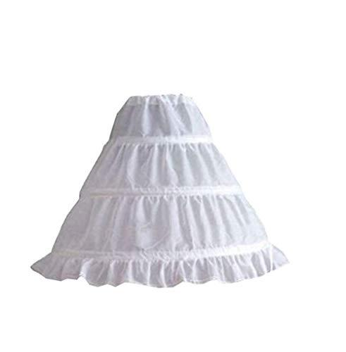 CHRONSTYLE Mädchen Reifrock 3 Ringe Unterrock Weiß Ballkleid Blumenmädchen Kleid Brautkleid Hochzeit Zubehör Petticoat (Weiß, ONE Size)
