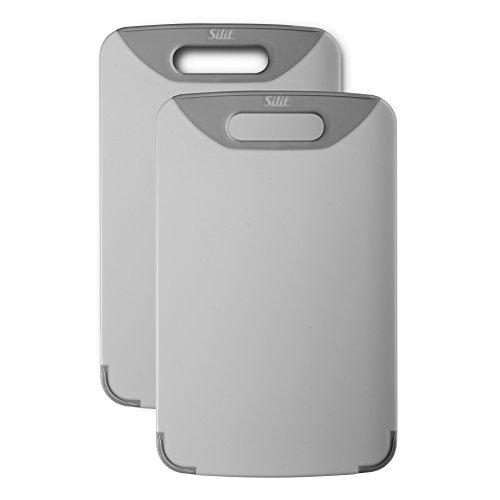 Silit Schneidebrett Set 2-teilig, 32 x 20 cm, rechteckig, Kunststoff, praktischer Griff, spülmaschinengeeignet, klingenschonend